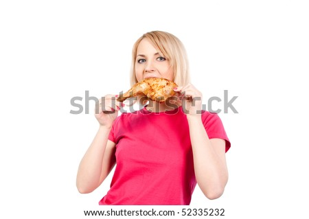 woman eating a fat chicken leg isolated on white background