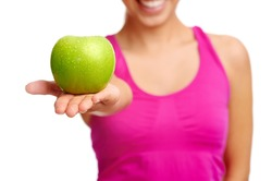 woman eating apple healthy diet and strong teeth