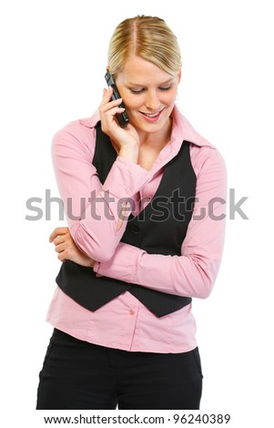 Woman employee speaking phone