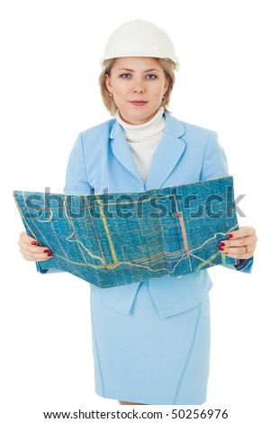 Woman engineer stand with blueprint and look at camera