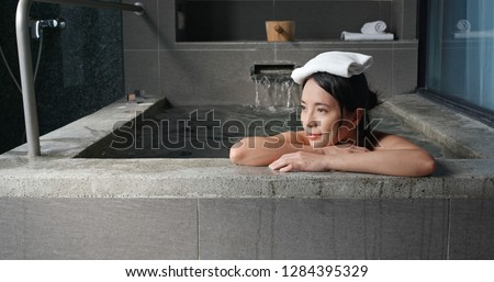 Woman enjoy hot springs