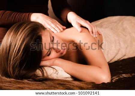 woman enjoy in  back massage in spa