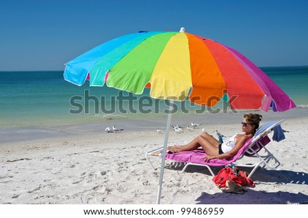 Woman Enjoying The Beach
