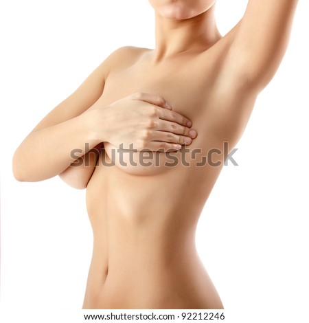 woman examining breast mastopathy or cancer
