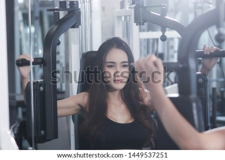 Woman exercise With exercise machines The fitness health
