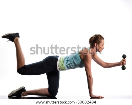 woman exercising workout on white background with weights