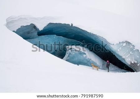 woman exploring athabasca...