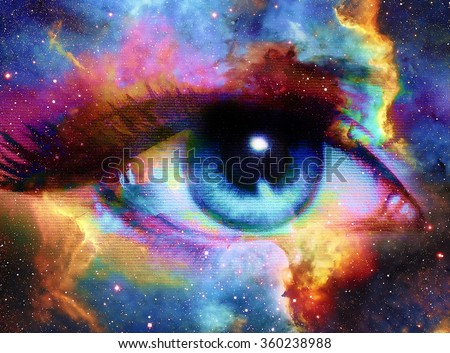 Stock Photo Woman Eye and cosmic space with stars.  abstract color background, eye contact. Elements of this image furnished by NASA.