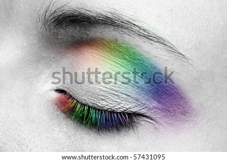 Woman eye. Closeup. Make up. Multicolored.