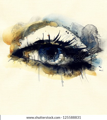 Woman eye Hand painted fashion illustration