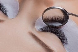 Woman eye with beauty lashes. Eyelash extension procedure.