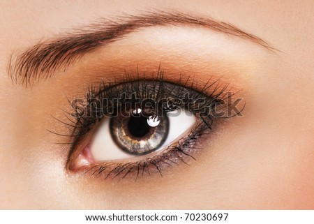 Woman eye with coral color makeup