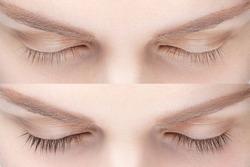 Woman eyelash tinting before and after. Henna tint, lamiation, keratin.