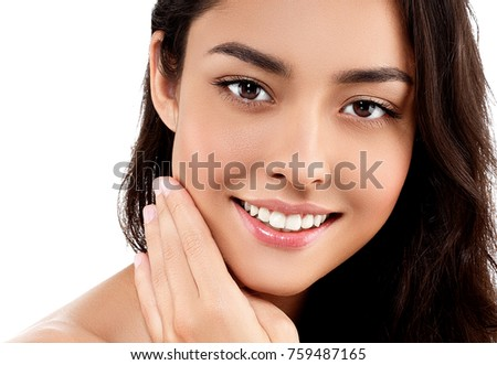 Woman face closeup portrait beautiful beauty model girl with beautiful smile teeth and hand. Studio shot. #759487165