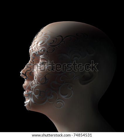 Woman face decorated with a floral ornament