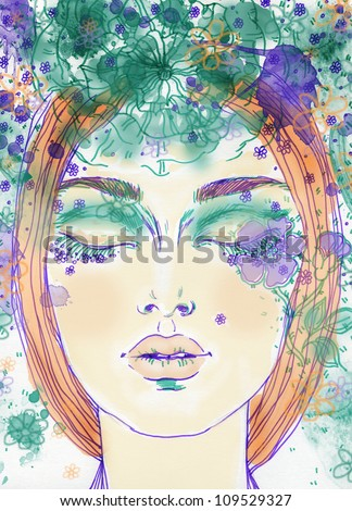 Woman face. Hand painted fashion illustration - stock photo