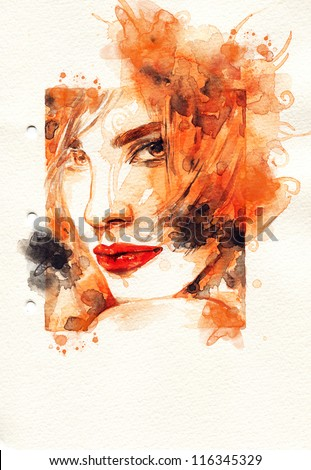 Woman face Hand painted fashion illustration