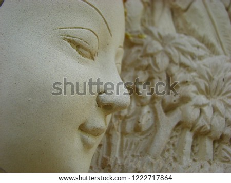 Woman face Made of plaster looks gentle and gentle. #1222717864