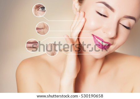 woman face with graphic circles with photo of old skin #530190658