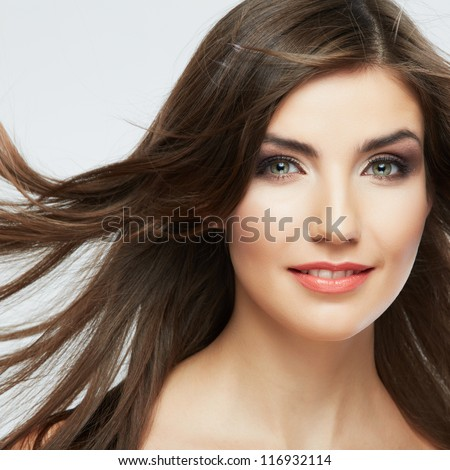 Woman face with hair motion on white background isolated close up portrait. #116932114