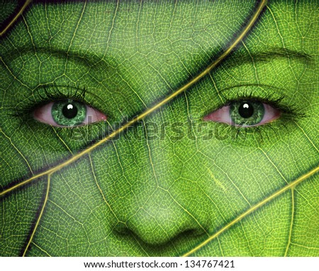 Woman face with leaf pattern. Nature or ecology concept