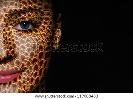 Woman face with lizard skin pattern