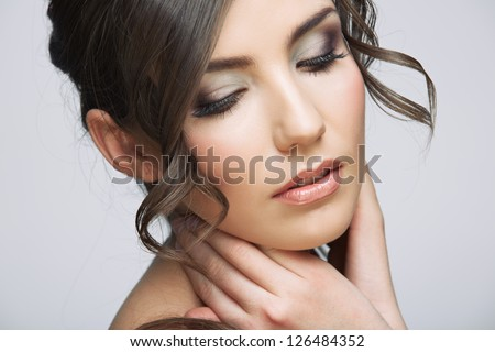 Woman face with long  curly hair on white background isolated close up portrait.