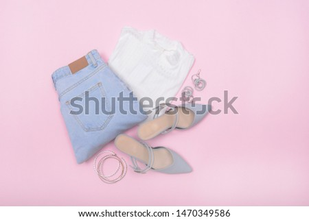 Woman fashion accessories and accessories collage   Set. ,blue pants,white shirts,sunglasses,