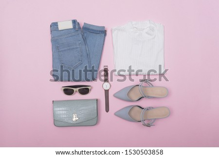 Woman fashion accessories and accessories Set on pink background
