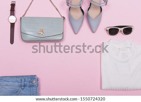 Woman fashion accessories and makeup, accessories Set. ,blue pants, white shirts, sunglasses,handbag, watch gray shoes