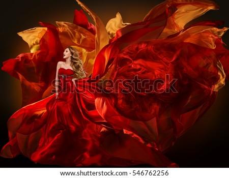 Woman Fashion Dress Flying Red Fabric, Beautiful Girl Waving Silk Cloth on Wind