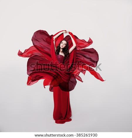 Woman Fashion Model in Red Flower Silk Dress - Shutterstock ID 385261930