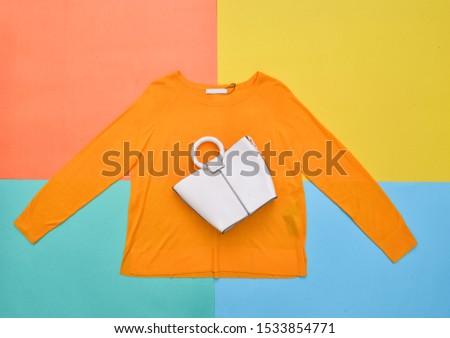 Woman fashion yellow handbag and white handbag -four  background