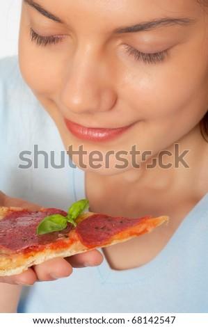 woman, fast food, pizza