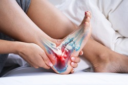Woman Feeling Achilles Heel Pain In Bed