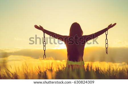 Woman feeling free in a beautiful natural setting. Stock photo ©