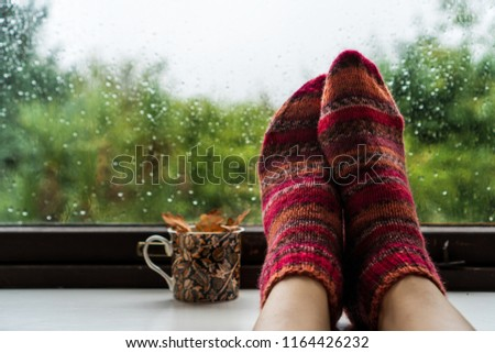 Woman feet in warm wool socks next to colourfull mug with fall leaves against a rainy widow background. Blurred garden fall background. Rainy weather concept.