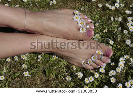 Woman feet with enjoying a sunny day outdoors