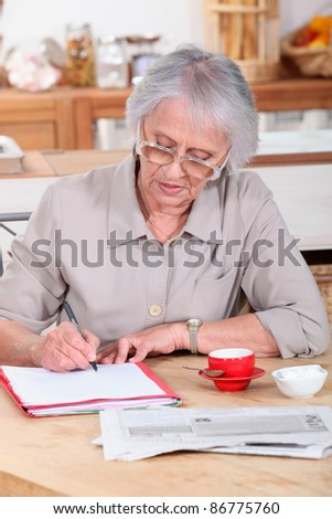 Woman filling out forms