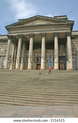 Woman Filming Dancer on Steps of Liverpool Museum England UK