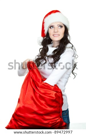 woman finding for surprise in the sack over white