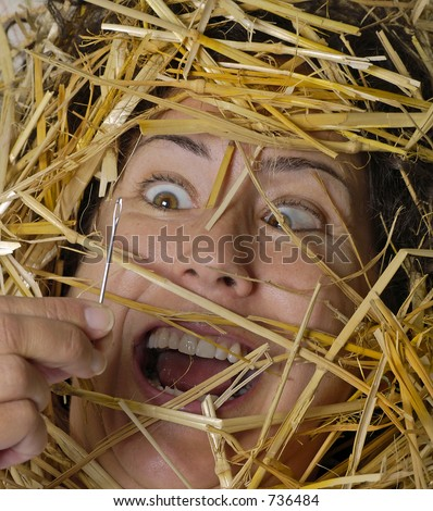 Woman finds needle in a haystack