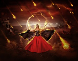 woman fire mage in medieval dress with developing mantle conjured fiery meteor rain