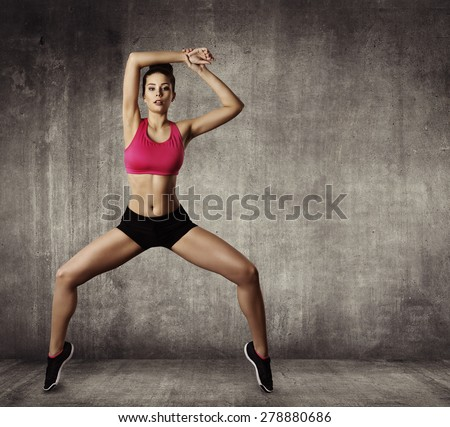 Woman Fitness Gymnastic Exercise, Sport Young Girl Fit Dance, Modern Aerobic Dancer, Grunge Wall