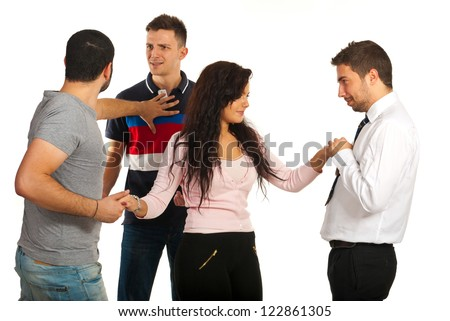 Woman flirting with one man while her boyfriend fighting with other man for same woman isolated on white background