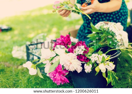 Woman florist cutting flowers for bouquet outdoors #1200626011