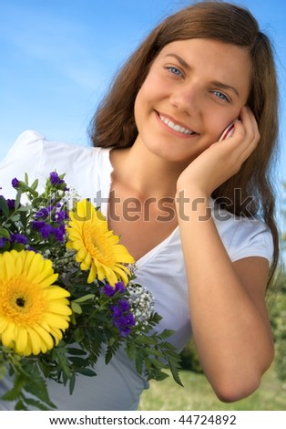 woman flower telephone - stock photo