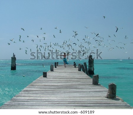 Woman flying off with seagulls