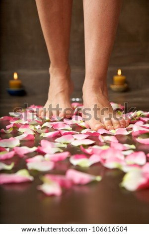 woman foot detail walking on pink petals health resort - stock photo