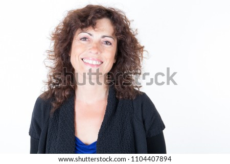 woman forties happy smiling friendly and welcoming #1104407894